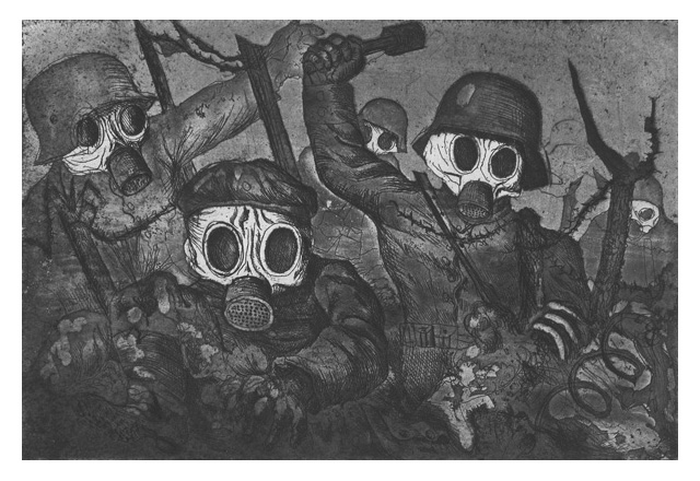 Otto Dix - Stormtroops Advancing Under Gas, etching and aquatint, 1924 (Image source: Wikipedia)