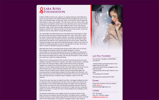 Website designed for the Lara Roxx Foundation