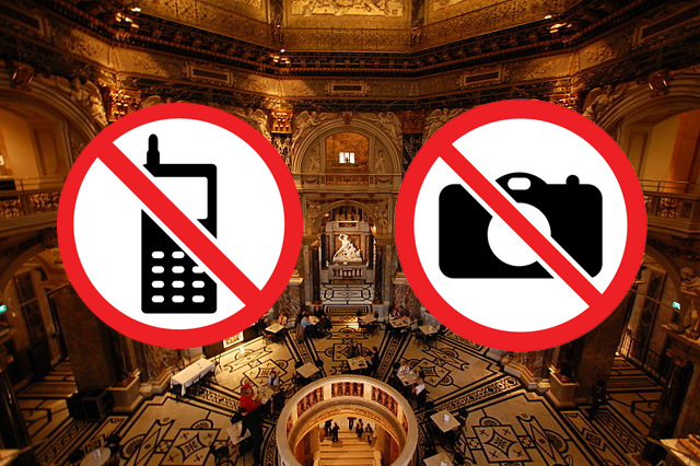 using cellphones and taking pictures is forbidden signs