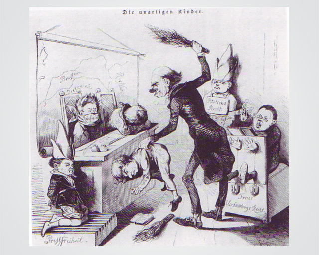 Caricature of a teacher punishing kids