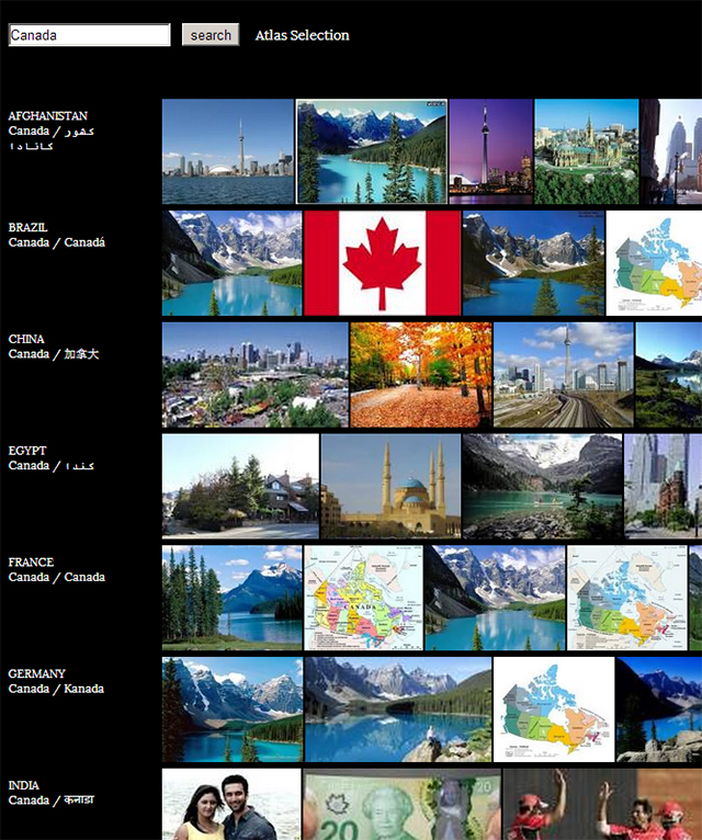 Search results for Canada in the Image Atlas