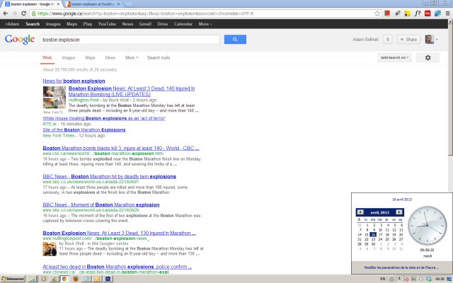 Google search result for boston explosion